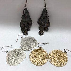 3 pairs dangly earrings